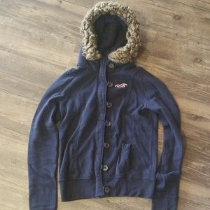 Hollister zip up jacket with fur hood size M